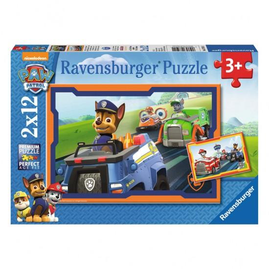 Puzzle 2 x 12 pièces : Pat'Patrouille : La Pat'Patrouille en action - Ravensburger-07591