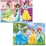 Puzzle 2 x 12 pièces : Princesses Disney : Les princesses dans le château