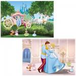 Puzzle 2 x 12 pièces : Princesses Disney : Un monde féérique / Cendrillon