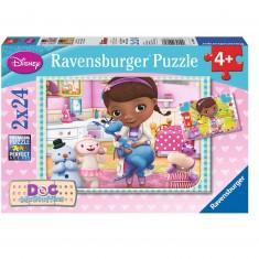 Puzzle 2 x 24 pièces : Docteur la peluche