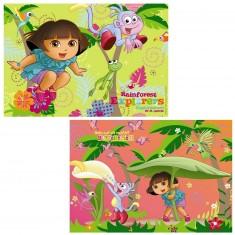Puzzle 2 x 24 pièces : Dora l'exploratrice : Dora dans la jungle