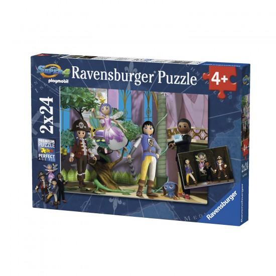 Puzzle 2 x 24 pièces : Super 4 en action Playmobil - Ravensburger-09016