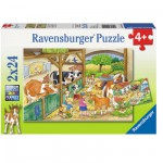 Puzzle 2 x 24 pièces : Une journée à la ferme