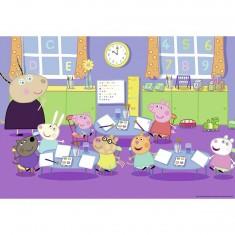 Puzzle 2 x 24 pièces : Peppa Pig à l'école