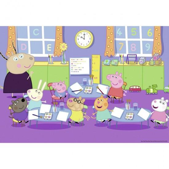 Puzzle 2 x 24 pièces : Peppa Pig à l'école - Ravensburger-09099