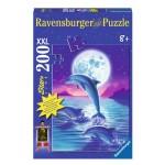 Puzzle 200 pièces XXL : Phosphorescent : Dauphin sous la lune