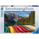 Puzzle 2000 pièces : Canoë à la montagne