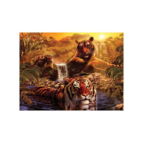 Puzzle 2000 pièces - Le bain des tigres - Ravensburger-16646