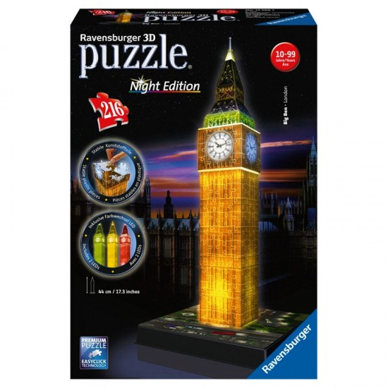 Puzzle 216 pièces 3D : Night Edition : Big Ben - Ravensburger-12588
