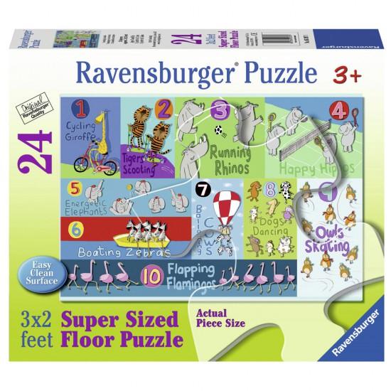 Puzzle 24 pièces géant : Animaux de 1 à 10 - Ravensburger-05397