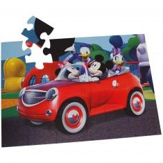 Puzzle 24 pièces géant - Mickey et ses amis : Tous en voiture