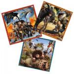 Puzzle 3 x 49 pièces : Dragons : Le monde des dragons
