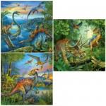 Puzzle 3 x 49 pièces : La fascination des dinosaures