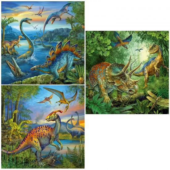 Puzzle 3 x 49 pièces : La fascination des dinosaures - Ravensburger-09317