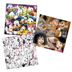 Puzzle 3 x 49 pièces : Les grands classiques Disney