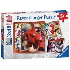 Puzzle 3 x 49 pièces : Les Nouveaux Héros Big Hero 6