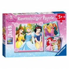 Puzzle 3 x 49 pièces : Princesses Disney