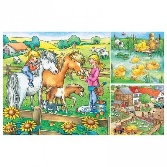 Puzzle 3 x 49 pièces - Animaux de la ferme - Ravensburger-09293