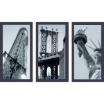 Puzzle 3 x 500 pièces - New York : Flatiron Building, Pont de Brooklyn et Statue de la Liberté