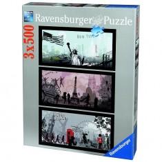 Puzzle 3 x 500 pièces - Villes artistiques : Londres, Paris, New York