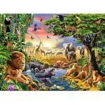 Puzzle 300 pièces : Coucher de soleil à l'oasis