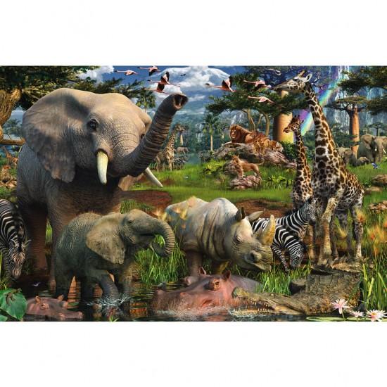 Puzzle 3000 pièces : Les animaux s'abreuvent - Ravensburger-17070