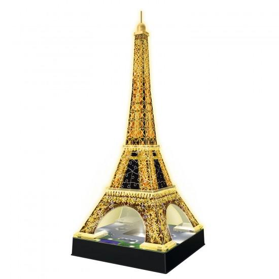 Puzzle 3D 216 pièces : La Tour Eiffel de nuit - Ravensburger-12579