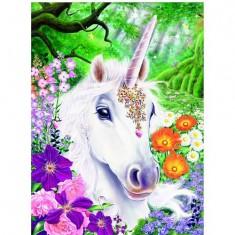 Puzzle 500 pièces - Licorne au pays des fleurs