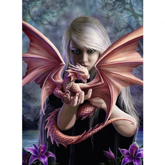 Puzzle 500 pièces : Anne Stokes : La fille au dragon - Ravensburger-14643