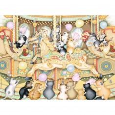 Puzzle 500 pièces : Carrousel de chats