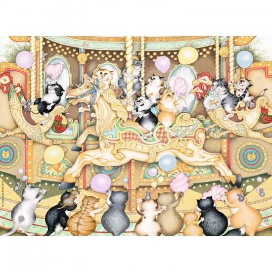 Puzzle 500 pièces : Carrousel de chats - Ravensburger-14696