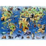 Puzzle 500 pièces : Planisphère animaux en danger