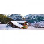 Puzzle 500 pièces panoramique : Chalet dans les Alpes