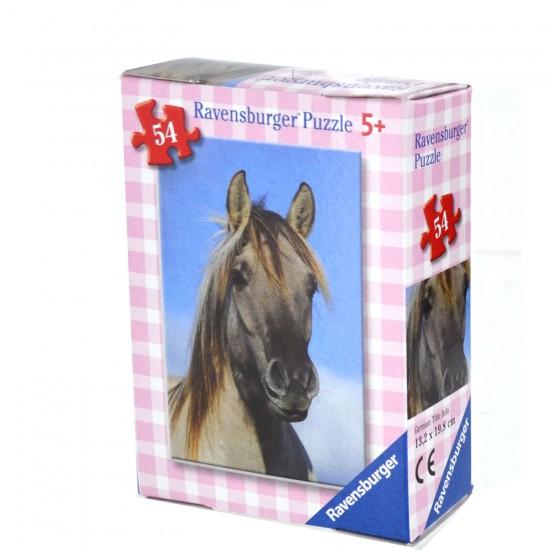 Puzzle 54 pièces : Mini puzzle Chevaux : Cheval gris - Ravensburger-09450-7
