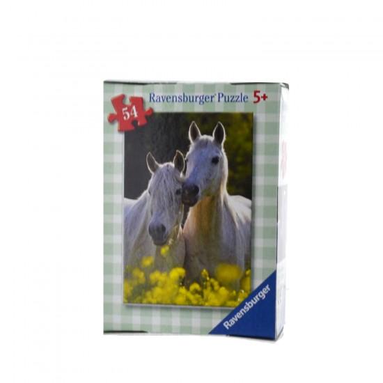 Puzzle 54 pièces : Mini puzzle Chevaux : Chevaux blancs - Ravensburger-09450-2