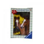 Puzzle 54 pièces : Mini puzzle Chevaux : Chevaux marrons