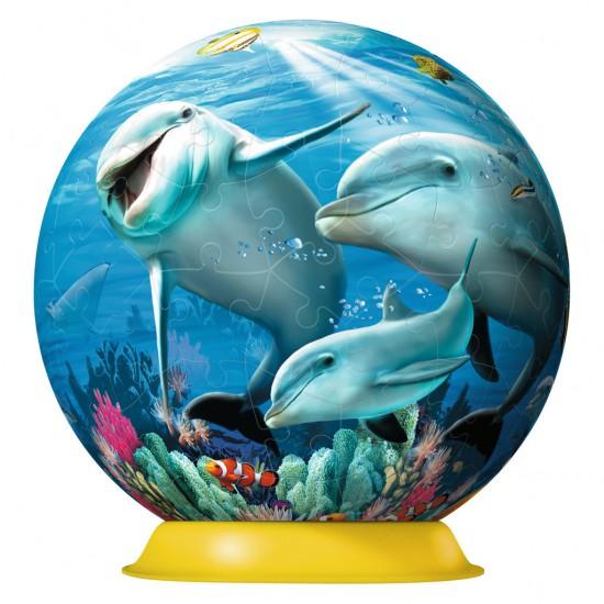 Puzzle Ball 108 pièces : Mignons dauphins - Ravensburger-12252