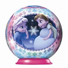 Puzzle Ball 3D 54 pièces : La Reine des Neiges (Frozen) : Anna et Elsa enfants