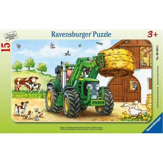 Puzzle cadre : 15 pièces : Tracteur à la ferme - Ravensburger-06044