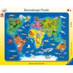 Puzzle cadre : 30 pièces : Les animaux dans le monde