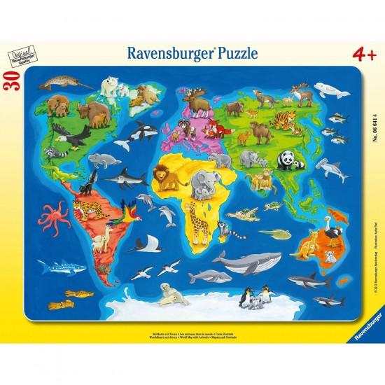 Puzzle cadre 30 pi ces les animaux dans le monde puzzle ravensburger rue des puzzles for Planisphere enfant