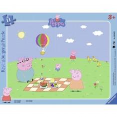 Puzzle cadre 11 pièces : Peppa Pig : Pique-nique avec Peppa