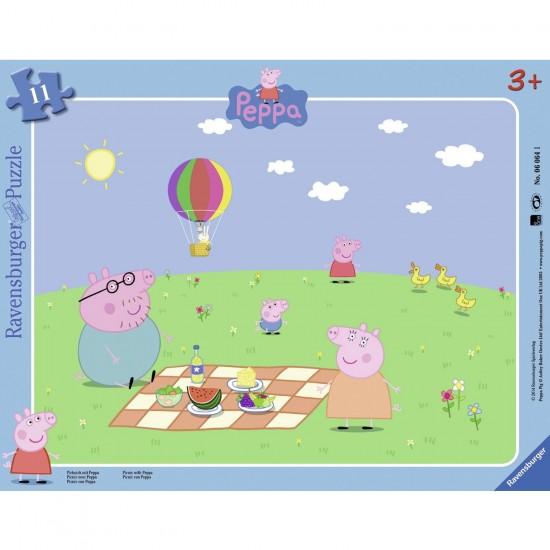 Puzzle cadre 11 pièces : Peppa Pig : Pique-nique avec Peppa - Ravensburger-06064