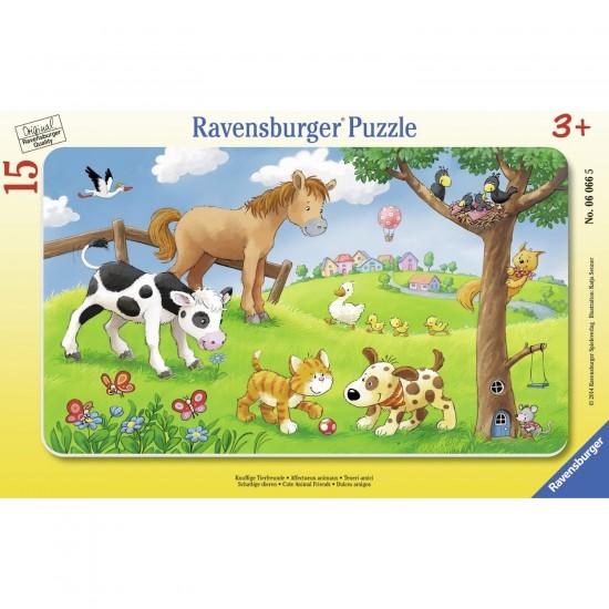 Puzzle cadre 15 pièces : Affectueux animaux - Ravensburger-06066