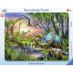 Puzzle cadre 45 pièces : Paisibles dinosaures
