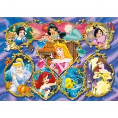 Puzzle Géant 125 pièces - Les princesses Disney en médaillon