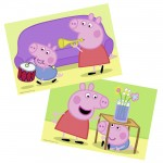 Puzzles 2 x 12 pièces : Peppa Pig : Amour fraternel