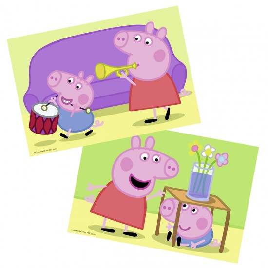 Puzzles 2 x 12 pièces : Peppa Pig : Amour fraternel - Ravensburger-07573