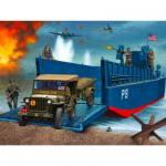 Maquettes véhicules militaires : Barge de débarquement LCM3, jeep avec remorque et figurines
