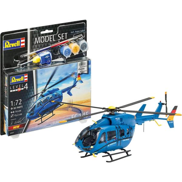 "Maquette hélicoptère : Model Set Helicoptere Ec 145 ""Builders choice"" - Revell-63877"